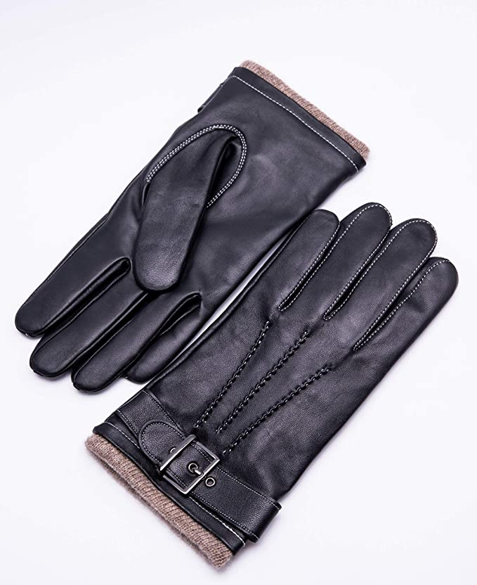 YISEVEN Men's Winter Cashmere Lined Touchscreen Lambskin Leather Gloves